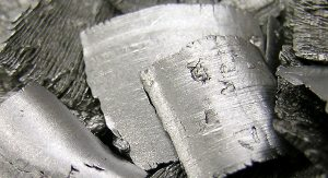 Hafnium metal is a silver color