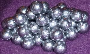 Bright, untarnished lead balls.