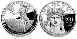 Both sides of a platinum eagle coin.