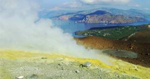 Deposits of sulfur around a volcanic vent